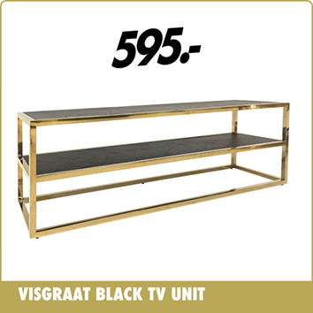 Visgraat Black Tv Unit
